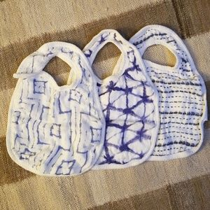 Set of Aden + Anais bibs, indigo & shibori prints